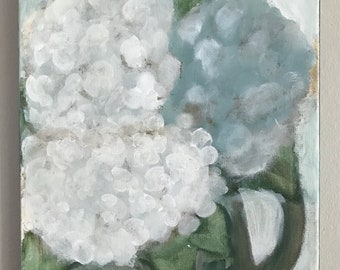 blue hydrangeas in a clay pitcher  painting  - 9 x 12 acrylic on canvas