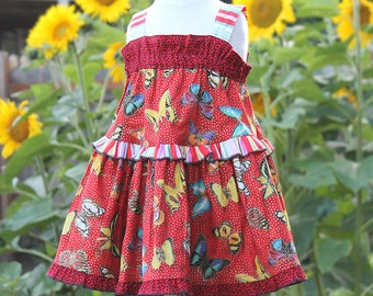 Sparkling Butterfly Red Toddler Dress Summer Baby Dress Toddler Girl Clothes Baby Girl Cotton Sundress Dress 3 6 9 12 18 24 month 2T 3T 4 5