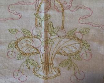 Vintage Pillowcase, Pillow Cover, Linen, Embroidery, Cherries, Basket