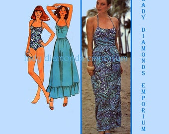 McCalls 6096 Womens Ruffled Dress or Maxi Skirt & 1-Piece Swimsuit size 14 Bust 36 Vintage 70's Sewing Pattern Uncut FF