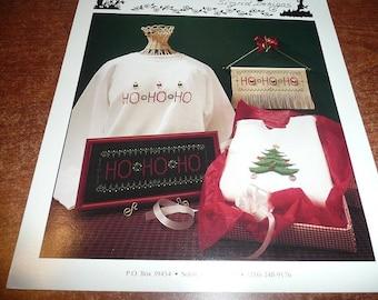 Vintage Thimb-Elena HO HO HO & Tree Cross Stitch Pattern