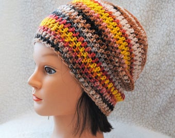 Goldfinch hand spun polwarth/merino wool/crochet adult beanie/hat