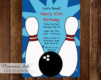 Bowling Invitation, Bowling Party Invite, Bowling Invite, Bowling Birthday Party Invitation, DIY, Bowling Printable, Boy Party, Girl Party