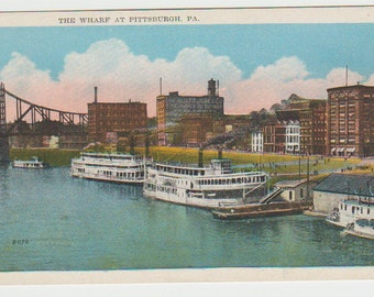 Vintage Postcard, Pittsburgh, Pennsylvania, The Wharf, Steamboats