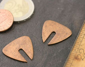 "Copper stamping. Modern, unique, copper charm. No hole. 7/8"" x 3/4"". Priced per pair. Beadwork, Jewelry making, Jewelry supply. Metal work."