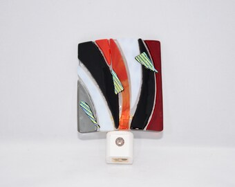 Fused Glass Night Light, Red and Black with Dichroic