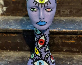 """Painted """"All Seeing"""" Mannequin Head"""