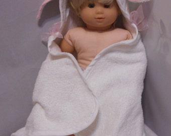 15 Inch Baby Doll Bunny Towel/Teddy Bear Bath Snuggle/15 Inch Baby Doll Clothes/Granddaughter Gift/Gift for Daughter/Doll Clothing/Girl Gift