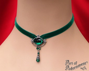 Victorian Gothic GREEN VELVET CHOKER Antique Silver Filigree Glass Teardrop c44