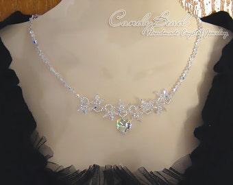 Crystal Necklace; Swarovski Necklace; Glass Necklace; White AB Swarovski Flower Crystals Necklace by CandyBead  (N016-01)