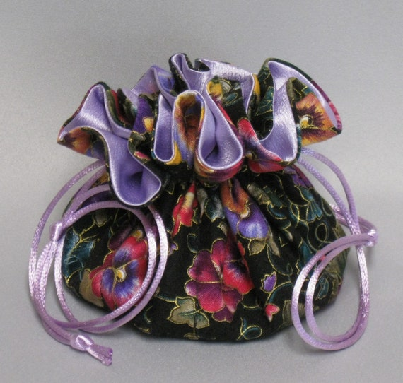 Jewelry Tote---Drawstring Organizer Pouch---Pansy Floral Design---Eight Pockets--Regular Size