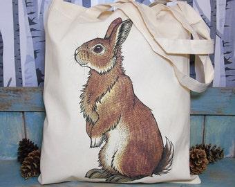 Bran the Bunny Eco Tote Bag ~ Rabbit Illustration ~ 100% Cotton Long Handles