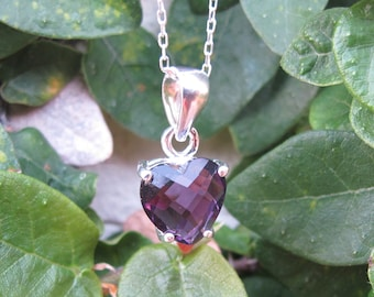 Heart Necklace- Heart Shaped Necklace- Amethyst Necklace- Sterling Silver Necklace- February Birthstone Necklace- Purple Necklace