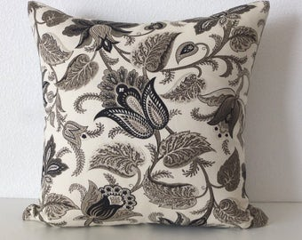 Charcoal Black Gray Floral Pillow Cover