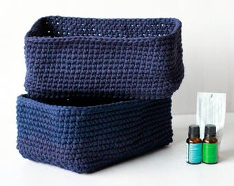 2 crochet baskets, rectangle basket, bathroom basket, bathroom storage, nursery storage, toy storage, desk organizer, T-shirt yarn basket