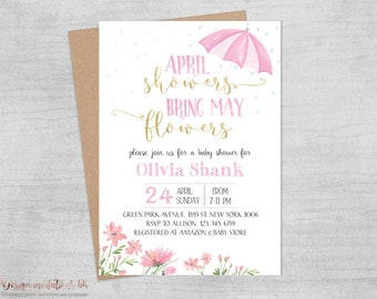 April Showers Bring May Flowers, Baby Shower Invitation Printable, Pink and Gold Shower Invitations, Spring Party Themes, Watercolor Flowers