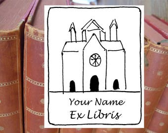 """Bookplate stamp or stickers  """"Cathedral"""", librarian stamp, exlibris stamp, personalized exlibris, custom bookplate, bookplate stickers, 142"""
