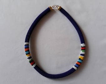 Unique Maasai Beaded Necklace | Kenyan Jewelry | Navy Blue Beaded Chocker | Zoulou Choker | Zulu Beaded Necklace | Gift for Her | Collier