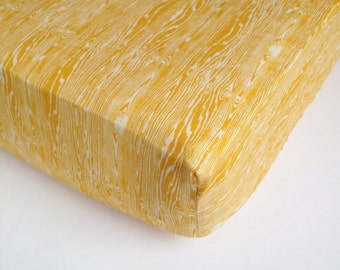 Yellow Baby Bedding - Wood Grain Crib Sheet / Woodland Crib Bedding / Mini Crib Sheet  / Tree Timber Bedding / Baby Sheet by Babiease
