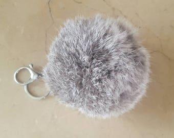 Large round genuine 11 cm rabbit fur Pom Pom
