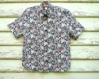 Vintage 90s floral Blouse Lightweight Semi Sheer Shirt Boho Grunge Short Sleeve Top  Vtg 1990s Size S-M