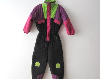 Vintage Kids Snowsuit Colorblock Children's Ski Suit Black Purple Green One Piece Ski Suit Winter Activewear Suit Warm Skiing Suit Size 140