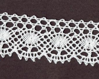 1.75 inch wide WHITE cluney cotton vintage lace trim 8yds (D9027)