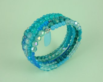 Turquoise Memory Wire Bracelet - blue green teal, mixed beads, stacked coils bangle, ocean sea water, boho bohemian hippie, Sea Punk mermaid