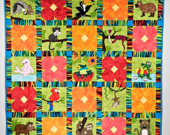 Jungle or rainforest or zoo animal applique PDF quilt pattern; baby nursery or child's downloadable quilt pattern; pieced flower quilt