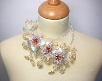 Statement necklace, peach wedding, mother of the bride, Summer wedding, bridal flower, peach necklace , neck corsage