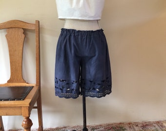 Grey cotton lace upcycled vintage linen Shorts bloomers