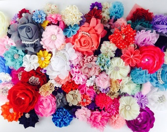 GRAB BAG of Chiffon Satin and Lace Fabric Flowers - some with Pearl and Rhinestone centers, 50, 75, 100 Pieces Variety MIX