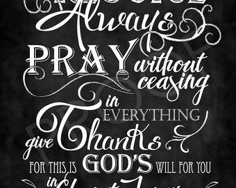 Scripture Art - I Thessalonians 5:16-18 Chalkboard Style