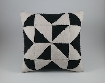 Quilt Square pillow/repurposed wool fabric/handstitched