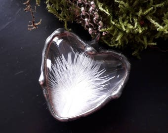 On Sale! White feather heart, real feather necklace, feather jewelry, feather heart, glass heart,gifts for girlfriend,feather gift for women