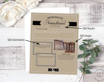 Bridesmaid Newsletter. Simply Charming. Layout 2. Instant Download. Wedding Newsletter. Editable.