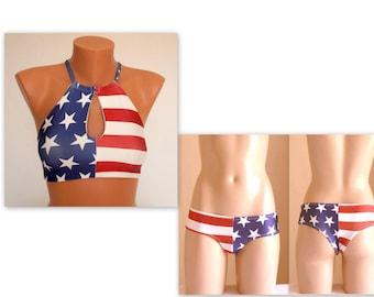 American flag bikini/Cut out high neck halter bikini top and boyshort bottoms/Women Swimsuit/Plus size swimwear/4th July/Bathing suit