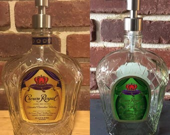 Crown Royal Upcycled Soap Dispenser Bottle, Clear Coat, Kitchen and Bathroom, Whiskey Bottle, Glass Soap Pump, Gift for Him or Her