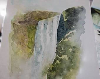 Watercolor Icelandic Waterfall Painting