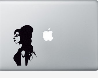 Amy Winehouse Fabric Decal - Music iPhone Sticker - Teen Room Wall Art - Movie Wall Decor - Black Laptop Decal - Macbook Sticker