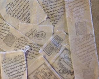 Sampler Pack of 9 Italian Motifs - Wine Label - Romantic Italian Script - Italian Postage & Drawstring Muslin Bag