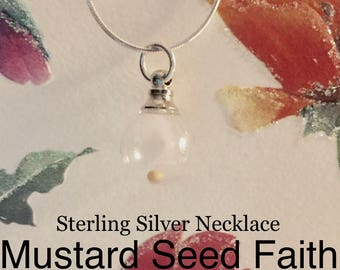 Mustard Seed Necklace Sterling Silver Traditional Christian Keepsake Jewelry for Women, Girl, Teen, Christmas Religious Gift