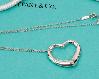 Authentic Tiffany & Co. Large Open Heart Pendant Necklace // Elsa Peretti // Large 27mm Pendant // 925 Sterling Silver // Excellent