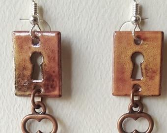 Enamel Lock with Copper Key Earrings
