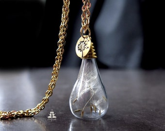 Gold Necklace - Real and hand stamped Dandelion