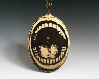 Open wide, mouth pendant, dentist jewelry, teeth, teeth jewelry, lips pendant, lips, big mouth, grill, mouth art, etched brass, teeth charm