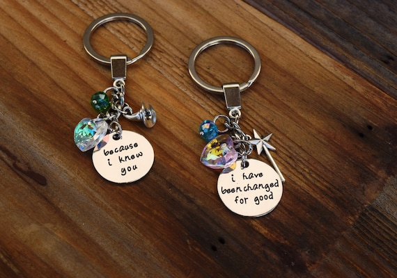 Wicked Musical Best Friends Keychains, Because I Knew You I have been Changed for Good, Elphaba / Glinda Key Chains, Wicked Key Rings Pair