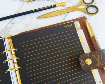 A5 (GM) Large size GOLD FOIL/Black Notes planner inserts paper | Physical planner refills for Kikki k, Filofax and Louis Vuitton agenda