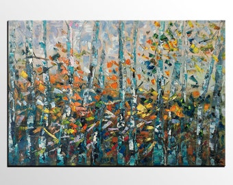 Oil Painting, Landscape Painting, Canvas Painting, Forest Tree Painting, Canvas Art, Abstract Painting, Original Art, Living Room Wall Art