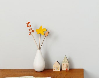 Wooden flowers - plywood flowers - Mustard Flower Set - Mother's Day Gift